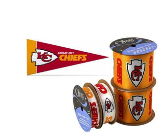 NFL Kansas City Chiefs Ribbon, 4-pack of Ribbon & Mini Pennant, Licensed NFL Offray Ribbon