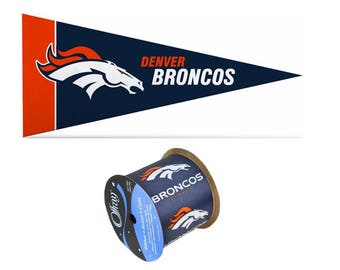 "2.5"" NFL Denver Broncos Ribbon, 9 feet & Mini Pennant, Licensed NFL Offray Ribbon"