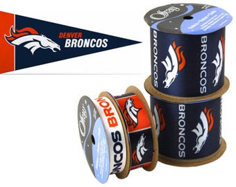 NFL Denver Broncos Ribbon, 4-pack of Ribbon & Mini Pennant, Licensed NFL Offray Ribbon