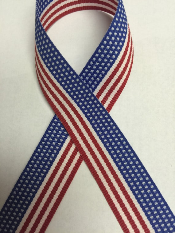 """Made in USA 7//8/"""" Red Grosgrain Ribbon with White Stars 4th of July"""