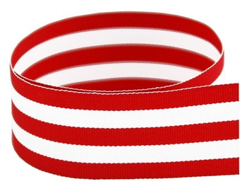 """1.5"""" Red & White Grosgrain Mono Stripe Ribbon -Red and White Stripes - Made in USA"""