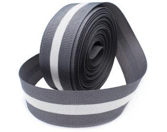 "7/8"" Grey Reflective Glo Grosgrain Ribbon - 1/4"" Silver Reflective Stripe  -100% Polyester / Sports"