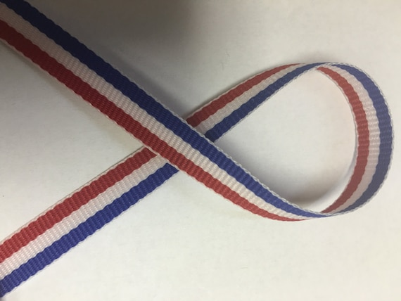 """Red//White//Blue Made in USA 5//8/"""" Tri-Stripe Grosgrain Ribbon 4th of July"""