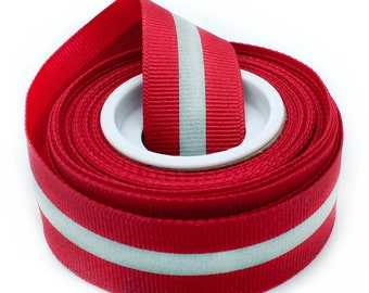 """7/8"""" Red Reflective Glo Grosgrain Ribbon - 1/4"""" 3M Silver Reflective Stripe  -100% Polyester / Sports - New Color!"""