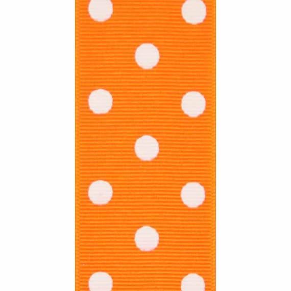 "5 yards Orange JUMBO polka dot print 1.5/"" grosgrain ribbon by the yard DIY bows"