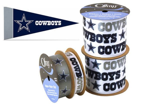"2.5/"" Dallas Cowboys Ribbon Licensed by NFL 4/""x9/"" Mini Pennant"