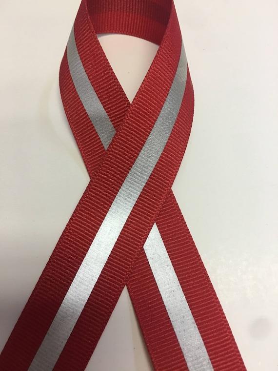"1//4/"" 3M Silver Reflective Stripe Grosgrain Ribbon 7//8/"" Neon Orange"