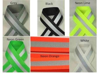 Reflective Glo Grosgrain Ribbon - Silver 3M Scotchlite 8710 Reflective Stripe   Safety Ribbon