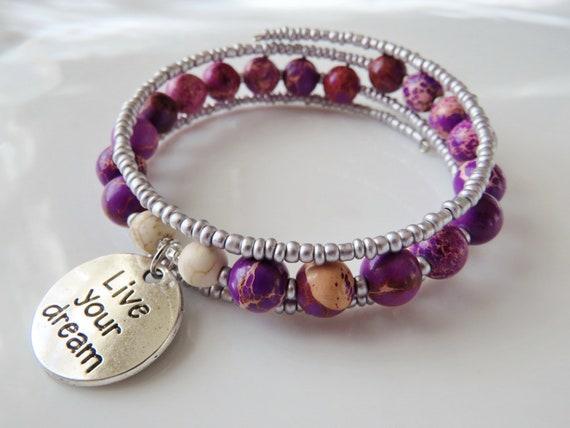 DREAM BIG  Word Handmade Beaded Bracelet Bluish Purple.