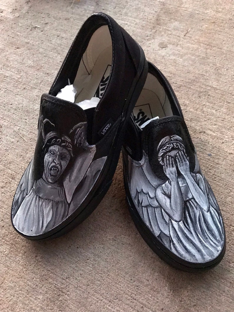 3823e4e36426b Weeping Angel Painted Shoes