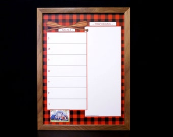 Buffalo Plaid Dry Erase Menu Planner - Framed Whiteboard Weekly Meal Planner - Red and Black Plaid - Personalized, Custom Options Available