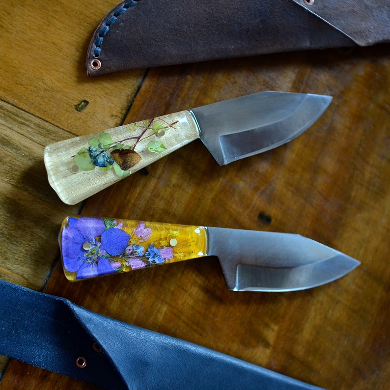 33512f505f22f Custom Pocket Knife / Made to Order / Hand Forged Botanical / Knife / 11th  anniversary / Bohemian Flower Knife / Real Plants Colorful Knife