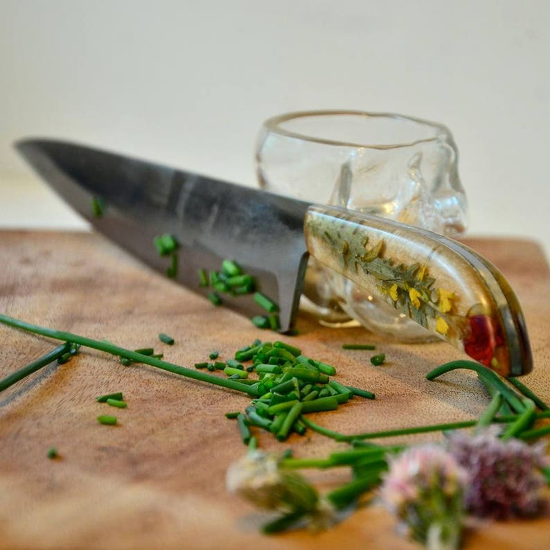 06de25ca52e94 Custom Kitchen Knife / Botanical / Made to Order/ 11th Anniversary / Flower  Cooking Chef / Real Plants / Hand Forged Paring / Santoku