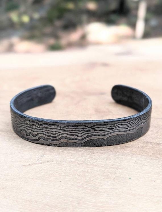 Damascus Bracelet  Hand Forged  Rustic Bracelets  Men/'s Cuff Bracelet  11th anniversary  Industrial Metal Bracelet