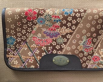 Vintage clutch Japanese antique fabric floral butterfly motif