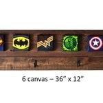 Superhero Art / Wood Pallet Coat Rack / Wall Hanging Coat Rack / Boys Girls Room Decor / Superhero Room Decor