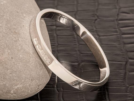 Handmade Chunky Silver Cuff Torque Zennor 8 Heavy Cuff Solid Silver Bracelet Staggered London Hallmarked 8mm Wide.