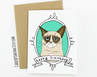 Funny Grumpy Cat Birthday Card Have A Terrible Day
