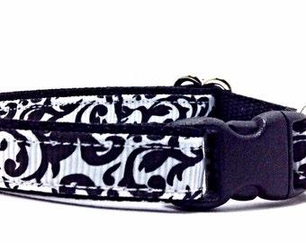 "Damask Cat Collars - ""Belle"", Breakaway Safety Buckle or Non-Breakaway, Dog Collars, Puppy Collars, Kitten Collars, Cute Cat Collars"