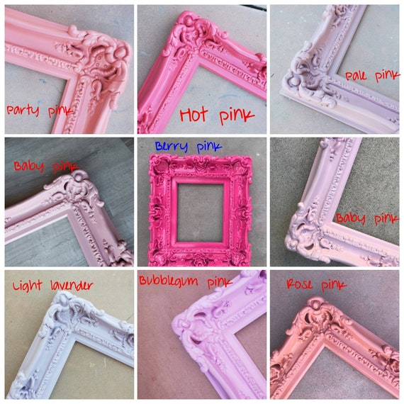 Baby Gifts Baroque Frame for Artwork Canvas Kids Room Gift Children/'s Decorations 20x24 Pink Picture Frame Ornate Wall Mirror