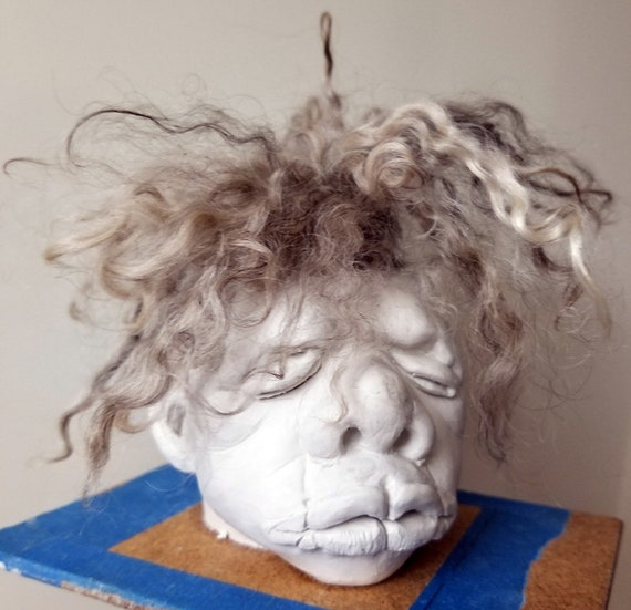 Shrunken Head Soap on a rope with mohair