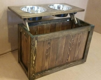 Raised dog feeder with storage, elevated feeder, dog feeder, pet feeder, reclaimed feeder, pet bowls, dog bowls, western dog feeder