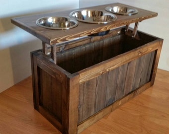 Small Raised dog feeder with storage, 3 bowl dog feeder, pet feeder, western feeder, elevated feeder, three bowl, dog feeder,