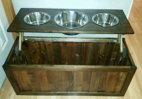 Delicieux Raised Dog Feeder With Storage 3 Bowl Dog Feeder Pet Feeder