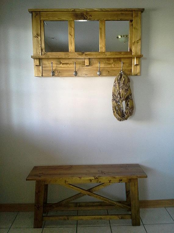 Rustic Entryway Set Entryway Decor Set Coat Rack And Mirror Etsy