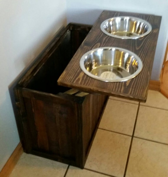 Bon Raised Dog Feeder With Storage Great Dane Dog Feeder XL Dog | Etsy