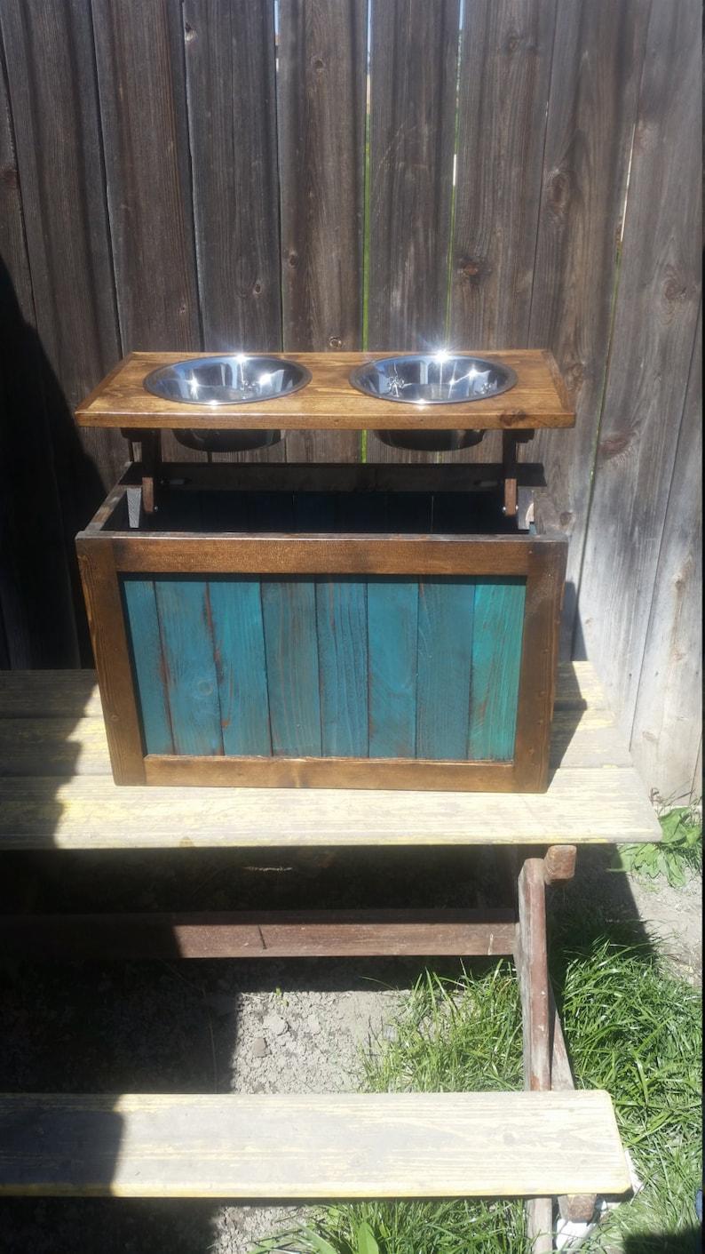 Dog feeder with storage dog feeder elevated feeder dog bowls pet bowls reclaimed feeder western dog feeder pet feeder
