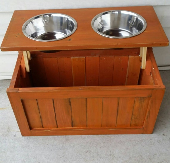 Raised Dog Feeder With Storage Elevated Dog Feeder Pet | Etsy