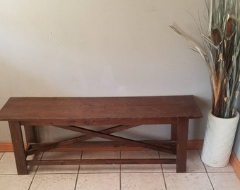 Rustic entryway bench, Rustic Wood Benches, Entryway Bench, Wooden bench, Entry Bench, Farmhouse Bench, x bench, 51 inch long bench
