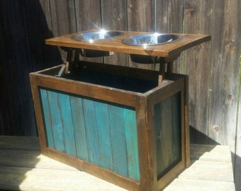 Raised dog feeder with storage, elevated feeder, distressed pet feeder, teal, pet bowls, dog bowls, western dog feeder, dog feeder