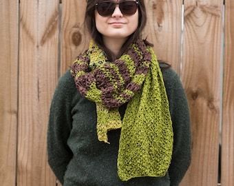 Hand Knit Cotton Scarf - Forest Colors
