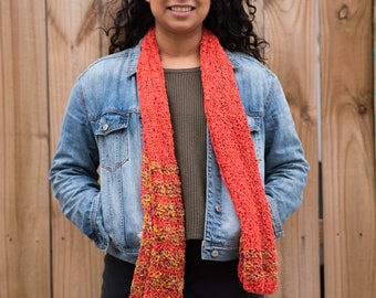 Hand Knit Cotton Scarf - Birds of Paradise