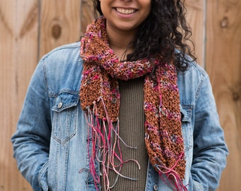 Hand Knit Cotton Scarf - Spring Buds