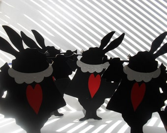 Alice in Wonderland White Rabbit cut outs Silhouette