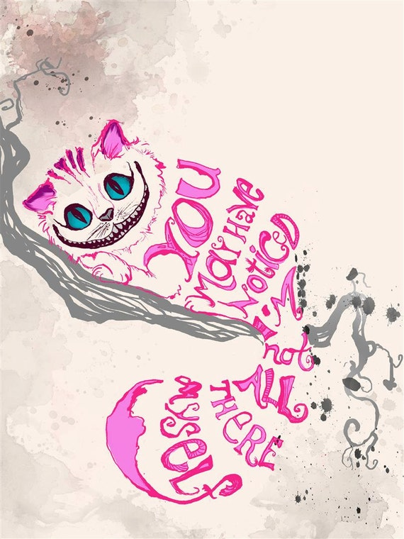 Alicja W Krainie Czarów Cytat Print Kot Różowy Cheshire Można Etsy