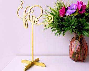 Gold table numbers. Freestanding numbers for wedding. Table numbers.