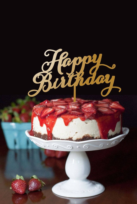Pleasant Happy Birthday Cake Topper Gold Cake Topper Party Cake Etsy Funny Birthday Cards Online Aboleapandamsfinfo