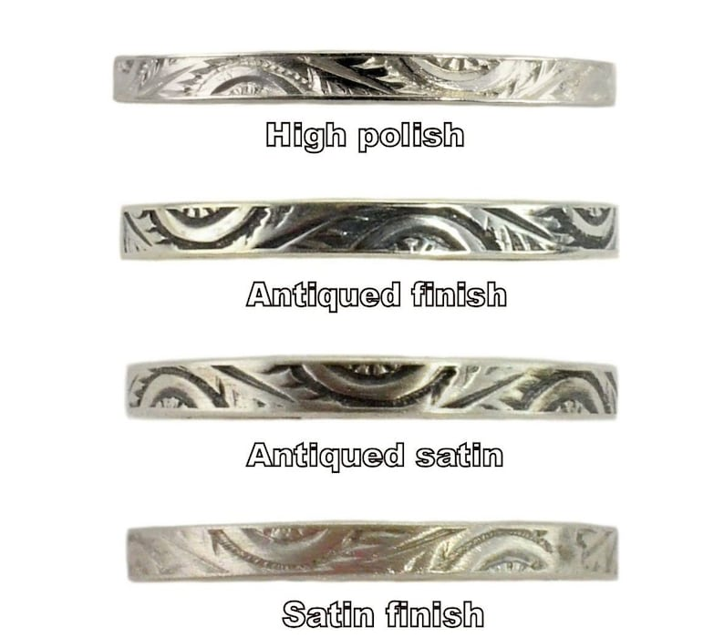 Antique Style 1.75mm Heart  Pattern Midi Band Pinky Ring Sterling Silver