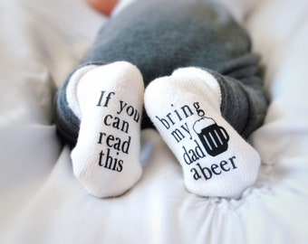 Fathers Day Gift, Baby Shower Gift, Unisex Baby Shower Gift, Baby Socks,  Beer Gifts, Baby Gift, Gift for Baby