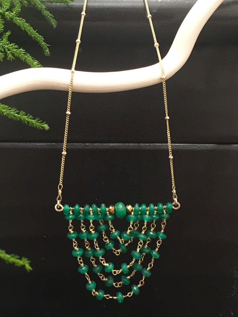 Rosary Green Onyx Chain Green Onyx Bead Pendant Necklace Necklace Scallop Design Drop Pendant 14k Gold Filled