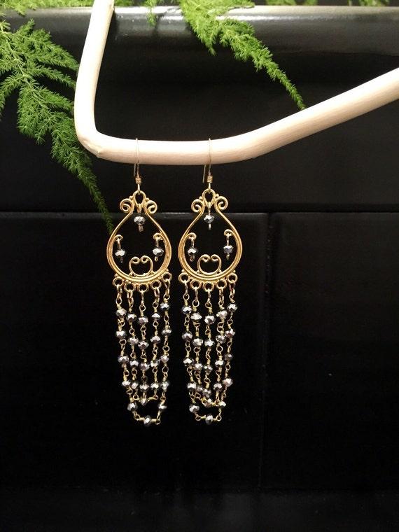 Filigree pyrit nuggets earrings
