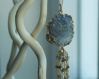 Tassel Necklace, Pendant Necklace, 14k Gold Filled , Pendant, Gold Electroplated Smokey Druzy Pendant, Labradorite Rosary Chain Tassel