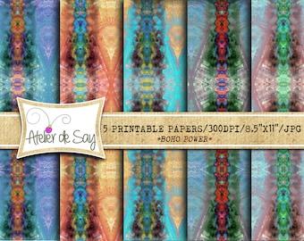Boho Digital Paper Set/Digital Paper Bundle/tribal boho Paper/Colorful Digital Paper/bohemian Digital background/blue/purple/orange/green