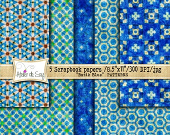 Grunge digital paper/blue grunge/ digital paper pack/batik digital paper/scrapbook paper/ digital backgrounds/batik/