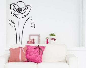 Poppy flower wall decal, flower decor, poppies wall decal, floral wall decal, tree wall decal, bedroom decor, living room decor, wall art