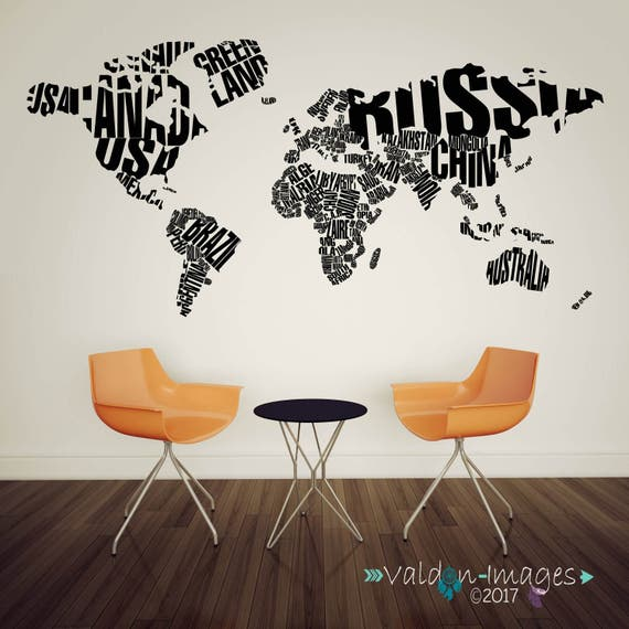 World map decor travel wall decal world map decal adventure etsy image 0 gumiabroncs Image collections